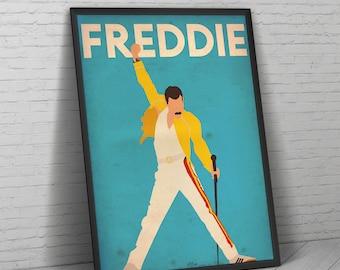 Freddie Mercury, Freddie Mercury Poster, Queen, Poster, Wall Art, Queen Poster, Music, Music Poster, Freddie Mercury Art, Brian May, Print.