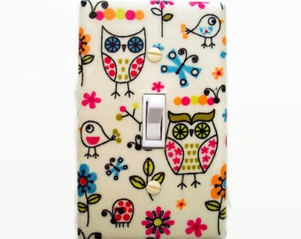 Owls Light Switch Cover - Woodland Switch Plate - Owl Nursery Decor - Girls Birds Switchplate - Woodland Nursery - Girls Nursery Decor