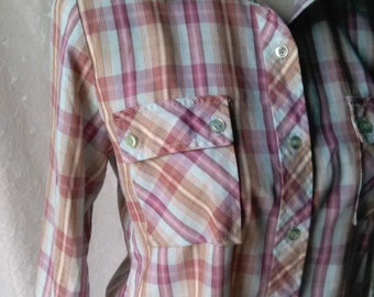 Vintage Plaid Blouse Light Cotton M L