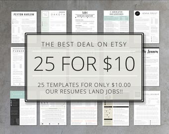 Resume Template Bundle   25 Pack of Etsy's Top Selling Resume Templates   Resume, Cover Letter, Thank You, References   Instant Download