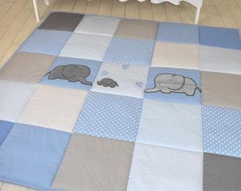 Elephant Playmat, Baby Blue Gray Play Mat, Baby Mat , Baby Activity Mat, Baby Playmat, Playroom Decor