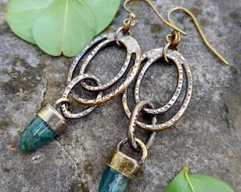 Green Jasper earrings   brass ring earrings   stone bullet earrings   Natural stone earrings   Artisan metalwork   Green gemstone earrings