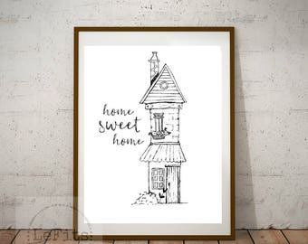 Home sweet home, black and white digital print, hand-drawn sketch printable, 8x10 instant download, wall art.