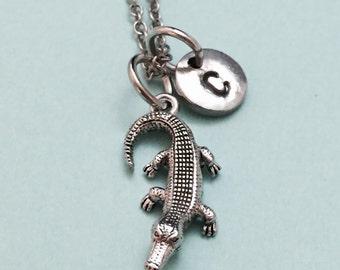 Alligator necklace, crocodile necklace, animal necklace, personalized necklace, initial necklace, initial charm, monogram, gator charm