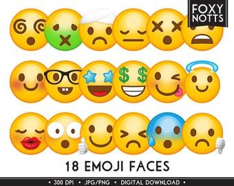 Emoji Clip Art Smiley Faces: Digital Download, High Resolution, Clipart, Emoticons, Scrapbooking, Printable, Graphics, Prop