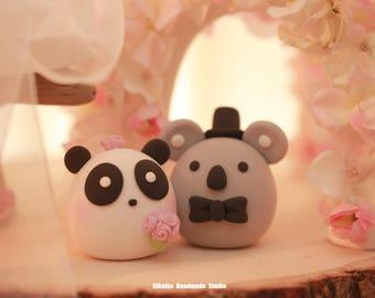 koala and  panda wedding cake topper
