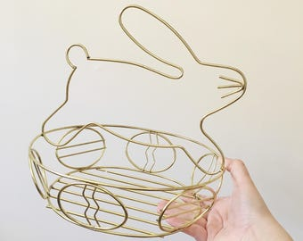 Vintage Gold Metal Bunny Rabbit Basket --  Easter Home Decor