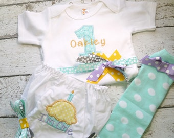 Girls First Birthday Outfit, Shirt or Onepiece, Bloomers and Baby Legs, long or short sleeves