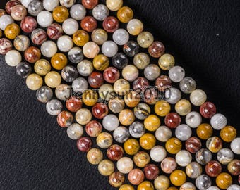 Natural Crazy Lace Agate Gemstone Round Beads 15.5'' 4mm 6mm 8mm 10mm 12mm Great For Jewelry Design