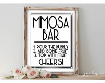 Instant 'MIMOSA BAR' Printable Event Sign Wedding Baby Shower Party Printable Modern Black and White Design Size Options