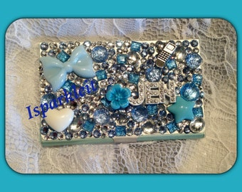 Engraveable leatherette hard business card holder custom bling rhinestone sparkle business card holders colourmoves Image collections