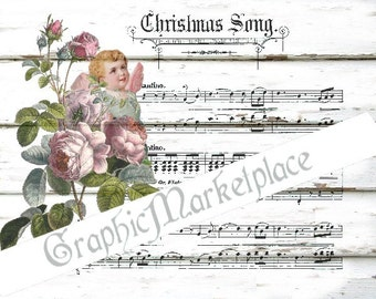 Christmas Song Rose Angel Instant Download Transfer Fabric Linen digital collage sheet printable wood background No. 645