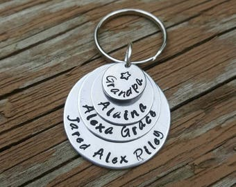 Father's Day Gift for Grandpa or Dad, 3 to 6 names, Grandpa or Dad Keychain, Kids' Names Keychain