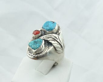 Vintage Southwest Native American Turquoise and Coral Sterling Silver Ring  #3TCT-SR2
