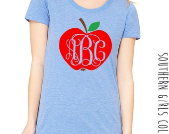 Apple with Monogram Short Sleeve Shirt -Back to School Monogrammed Tee - Apple Monogrammed Teacher's Shirt - Teacher Monogram Shirt