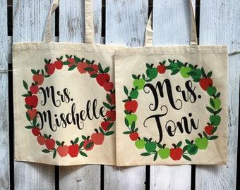 Teacher Bag - Teacher Tote Bag - New Teacher Gift - Gift for Teacher - Apple Tote Bag - Personalized Teacher Bag -Personalized Teacher Tote