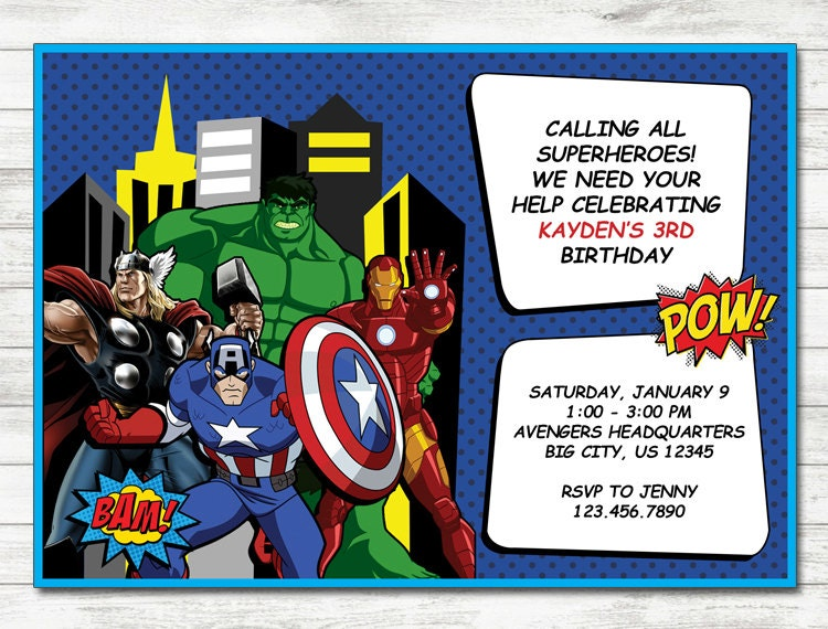 avengers party invitations