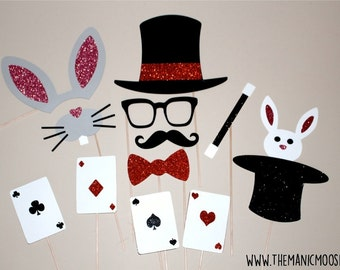 Magician Photo Booth Props ~ Set of Glitter Photo Booth Props ~ Magic Glitter Photo Booth Props