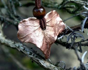 Copper Ivy leaf, Electroformed Ivy leaf necklace, copper leaf pendant, copper leaf charm, natural leaf, Ivy leaf necklace, leaf jewelry
