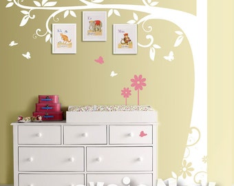 Children Wall Decal Wall Sticker tree decal  - Family Tree with Flowers and Butterflies - Tree Wall Decal for Picture Frames  - TRFRM010