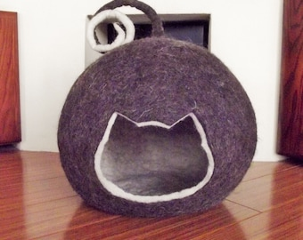 Cat Cave, Cat Bed, Cat House, Felted Cat Cave, Wool Cat Bed, Pet Bed, Cat Furniture, Home Decor, Eco-friendly, Felted wool