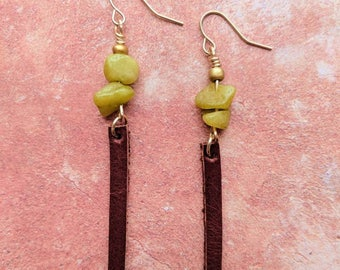 Long thin Leather Drop earrings with Olive Stone Chip Beads hung by Fishhook Wires