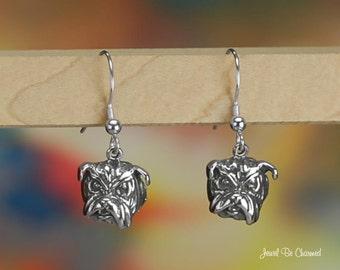 Bulldog Head Earrings Sterling Silver Pierced Fishhook Earwires .925
