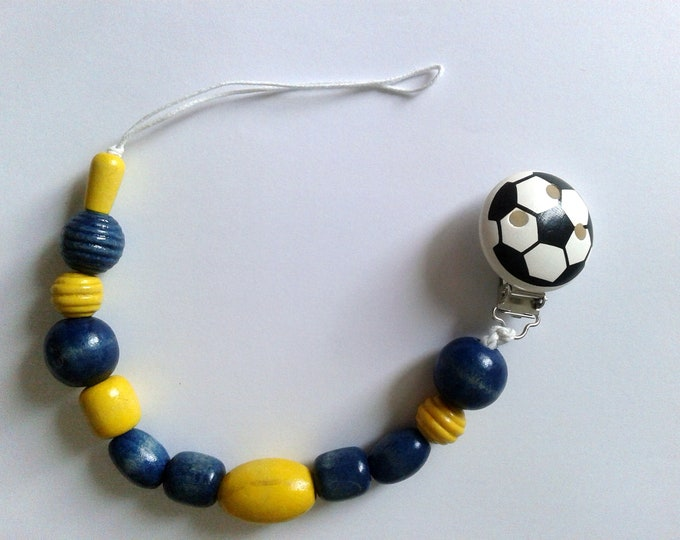Football pacifier pacifier, soccer, football, blue and yellow wood beads