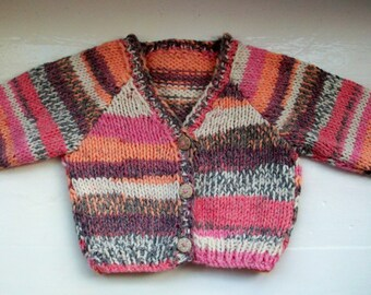 Child's jacket, toddler jumper, baby coat, easy care knit, bright chunky cardigan, unisex baby sweater