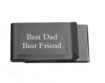 Money Clip, Personalized Money Clip, Engraved Money Clip, Double Sided Gunmetal Money Clip & Credit Card Holder, Custom Engraved Free