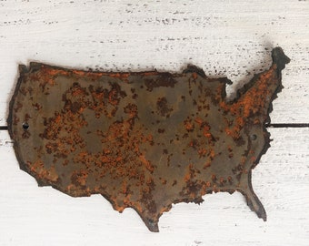 """United States - 6"""" Rusty, Rustic Metal USA Outline - Predrilled - For Art, Sign, Decor - Make your own DIY Gift!"""