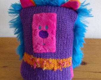 Wiggily Squiggily in Purple and Blue. Handmade soft toy.