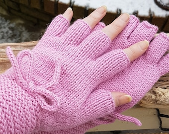 Half Finger Fingerless Gloves Soft Pink Baby Alpaca Wool Hand Knit