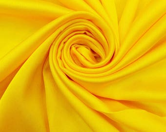 """Yellow Fabric, Dress Material, Home Decor Fabric, Sewing Accessories, Quilting Fabric, 42"""" Inch Satin Fabric By The Yard FSS195A"""