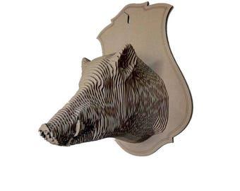 Cardboard Boar trophy head