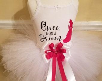once upon a dream tutu, princess tutu, white tutu, red and white bow tutu set