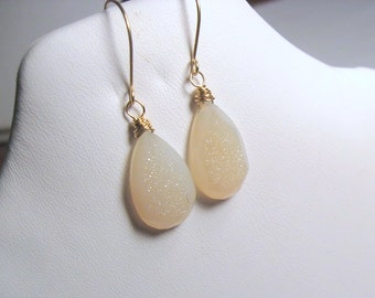 14K Gold Druzy gemstone earrings,  wire wrapped briolettes, off white