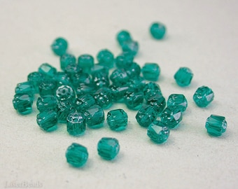 Teal Fire Polished Beads 6mm Faceted (35) Czech Polish Round Cathedral Acorn Glass