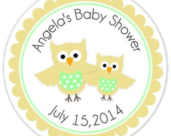 Yellow Owl Baby Shower Labels, Mommy and Baby Owl Custom Stickers - Personalized for YOU