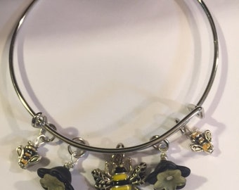 Bee Bangle Bracelet, Free Shipping, Black and Yellow Bee's and Black Flowers. Great gift for Her.