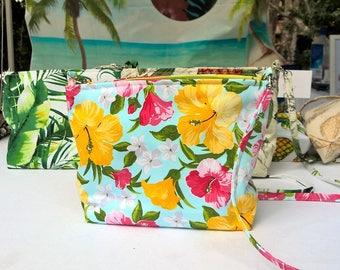 Tropical Hibiscus print handbag