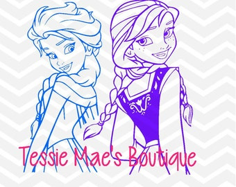 Frozen, Elsa and Ana Instant Download Design in SVG, DXF, EPS formats