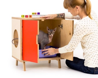 """Mid Century Modern Cat Litter Box Furniture   SMALL Cat Litter Box Cover   Pet House   MCM Maple Side Table   """"The MINI Cabinet"""""""