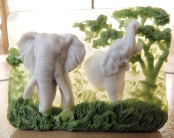 ELEPHANT SOAP, - Elephants, Big Grays - Sweet Grass and Cedar Scented, Animal Soap, Novelty Soap, For Her, For Him, Elephants Running Free