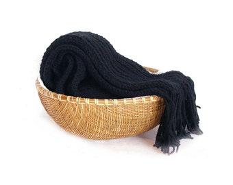 Extra long scarf black man scarf ribbed winter scarf knitted wool scarf unisex scarf knit scarf merino wool big scarf warm fringes scarf
