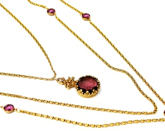 Purple Cameo Goldette necklace multi gold chain - violet  carved  intaglio glass   - Caged crystal -  Victorian Revival