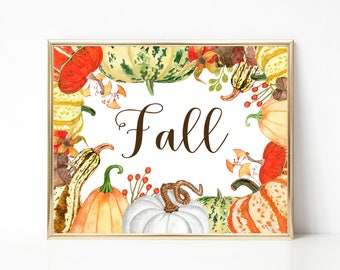 Fall Print-Autumn Print-Fall-Fall Sign-Fall Printable-Fall Pumpkins Gourds Print-Harvest Print-Instant Download-Wall Art-Printable Fall
