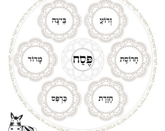 Passover Coloring Book-5 Seder Plates Templates Printables-Hebrew Prayers & Blessings-Jewish Meditative Art-INSTANT DOWNLOAD by @zebratoys