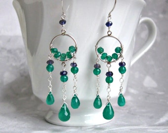 Dream Catcher Earrings- Green Onyx, Iolite, Silver