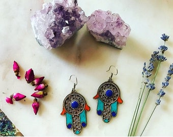Hamsa Earrings | berber silver, turqouise and coral earrings | festival earrings | gifts for her | bohemian jewelry | festival jewelry |